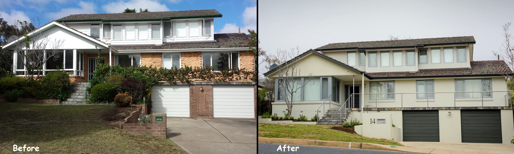 before and after shots larger home renovation